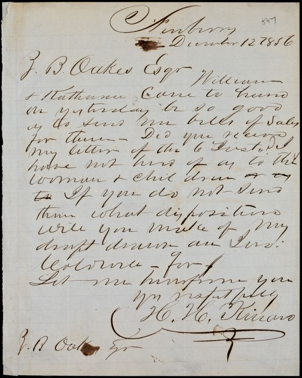 H. H. Kinard, Newberry, S.C., autograph note signed to Ziba B. Oakes, 12 December 1856