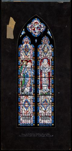 Design for south window fifth from chancel in nave, Immaculate Conception Church, Easthampton, Massachusetts