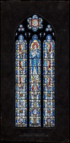 Design for middle aisle window on south, Immaculate Conception Church, Easthmapton, Massachusetts