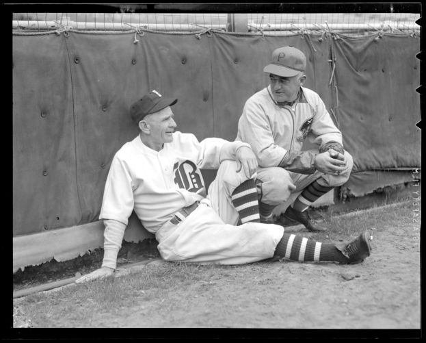 Bees manager Casey Stengel with Pirates manager Frankie Frisch