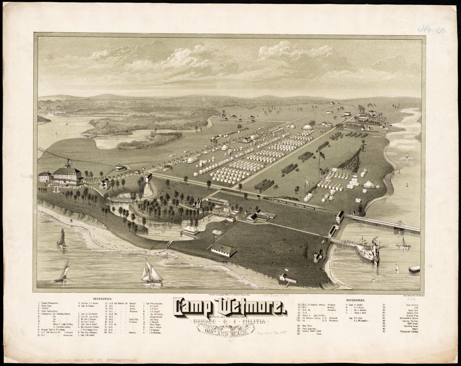 Geo. H. Walker & Co, and A.F. Poole & Co, Camp Wetmore, R.I. brigade militia, July 7th to 11th, 1885, Oakland Beach (1885)