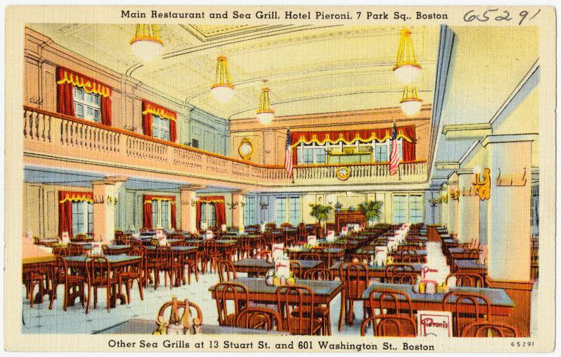 Main Restaurant and Sea Grill, Hotel Pieroni, 7 Park Sq., Boston. Other Sea Grills at 13 Stuart St. and 601 Washington St., Boston.