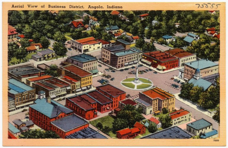 Aerial view of business district, Angola, Indiana