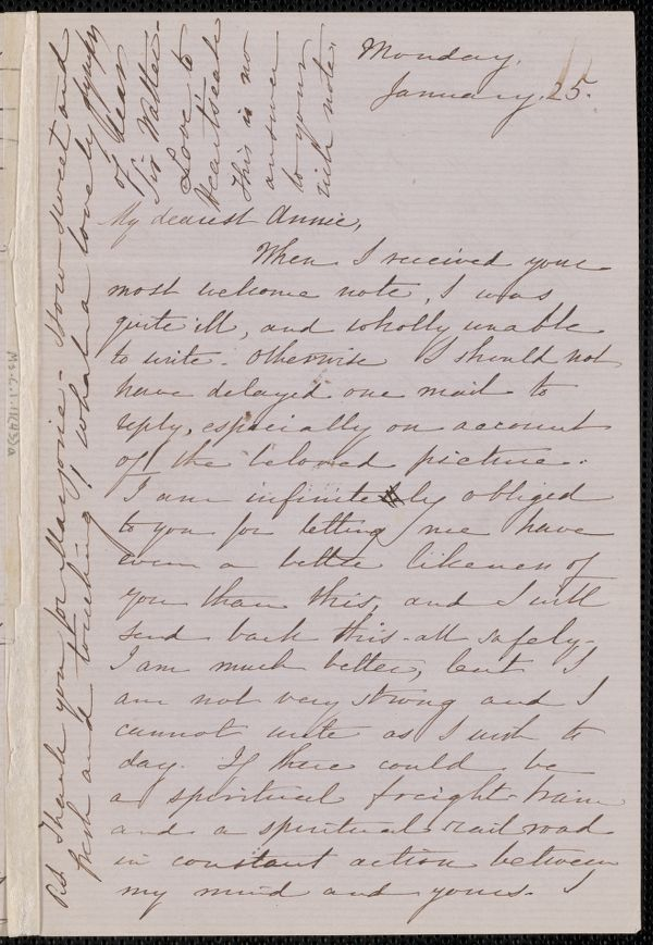 Sophia Hawthorne autograph letter signed to Annie Adams Fields, [Concord], 25 January [1864]