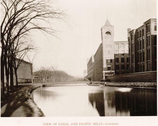 View of Canal and Pacific Mills, Lawrence