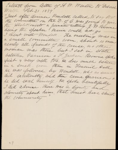 Extract of a letter from Anne Warren Weston to Deborah Weston, Feb. 21, 1839