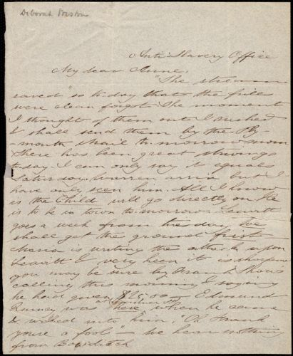 Letter from Deborah Weston, Anti-Slavery Office, [Boston, Mass.], to Anne Warren Weston