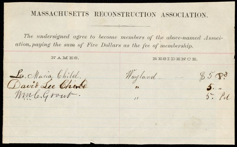Receipt for membership to the Massachusetts Reconstruction Association for Lydia Maria Child, [1860?]