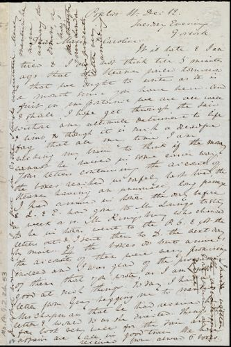 Letter from Anne Warren Weston, Poplar St., [Boston], to Maria Weston Chapman and Caroline Weston, Dec. 12, [1848?]. Tuesday Evening, 9 o'clock