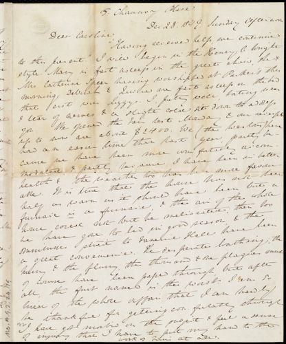 Letter from Anne Warren Weston, 5 Chauncy Place, [Boston], [and] Weymouth, [Mass.], to Caroline Weston, Dec. 28, 1849. Sunday afternoon. [Through] Monday night, Jan. 7, [1850]