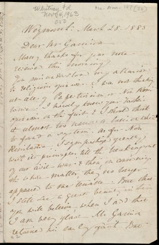 Letter from Anne Warren Weston, Weymouth, [Mass.], to William Lloyd Garrison, March 28, 1885