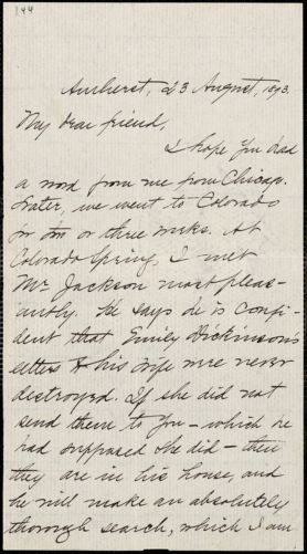 Mabel Loomis Todd, Amherst, Mass., autograph letter signed to Thomas Wentworth Higginson, 23 August 1893
