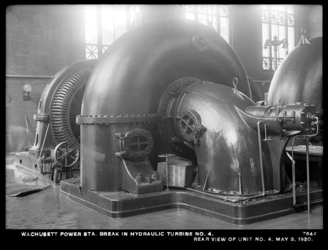 Wachusett Department, Wachusett Dam Hydroelectric Power Plant, break in turbine No. 4, rear view of unit No. 4, Clinton, Mass., May 3, 1920
