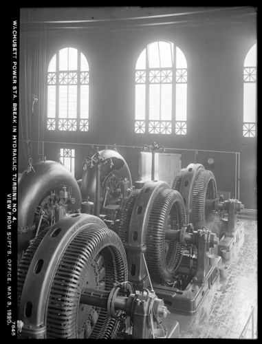 Wachusett Department, Wachusett Dam Hydroelectric Power Plant, break in turbine No. 4, view of break from Superintendent's office, Clinton, Mass., May 3, 1920