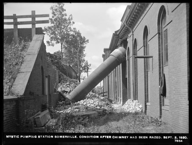 Distribution Department, Mystic Pumping Station, condition after chimney had been razed, Somerville, Mass., Sep. 2, 1920