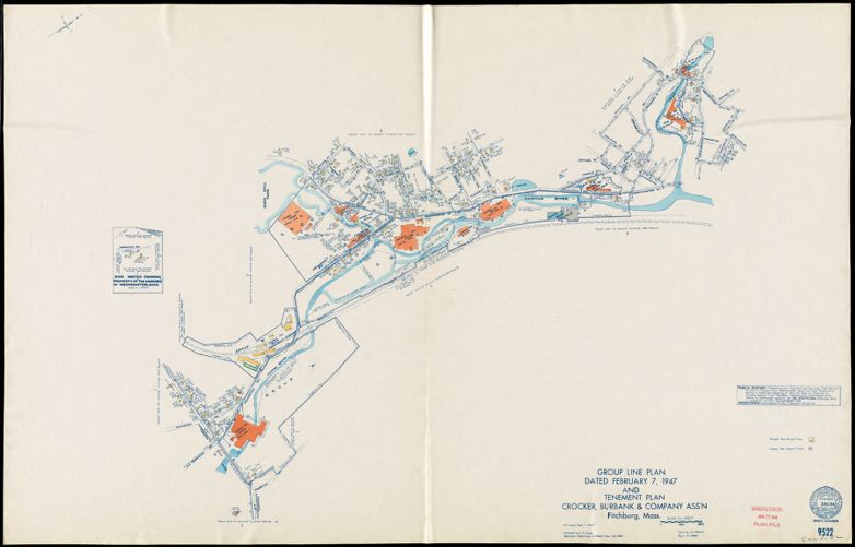 Group Line Plan dated February 7, 1947 and Tenement Plan, Crocker, Burbank & Company Ass'n., Fitchburg, Mass. [insurance map]