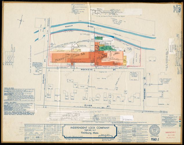 "Independent Lock Company ""Plants Nos. 2 & 3,"" Fitchburg, Mass. [insurance map]"