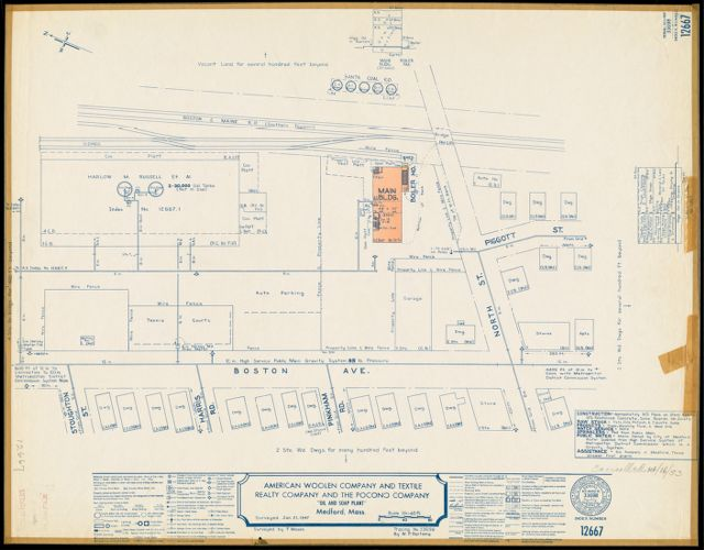 """American Woolen Company and Textile Realty Company and the Pocono Company """"Oil and Soap Plant,"""" Medford, Mass. [insurance map]"""