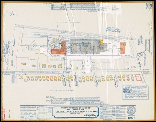 "Harlow M. Russell, et al, Bldgs., ""Bldgs. 1, 2, 3 & Power Ho. Group,"" Container Corporation of America, et al, Ten., Medford, Mass. [insurance map]"