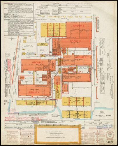 "New England Cotton Yarn Co., Bennett Department, ""Depts. Nos. 1, 5, 3A & 2,"" New Bedford, Mass. [insurance map]"
