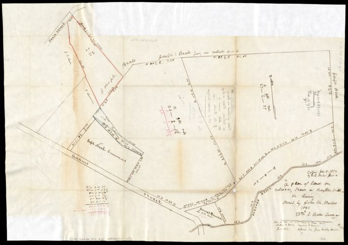 A plan of lands on Wilcocks, Shaws or Baxters Hill in Quincy owned by John M. Forbes 1846