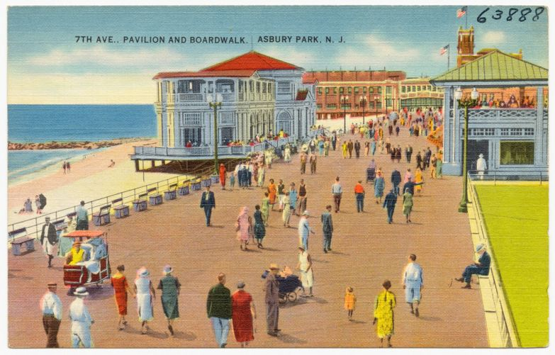 7th Ave., pavilion and boardwalk, Asbury Park, N. J.