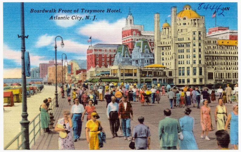 Boardwalk front of Traymore Hotel, Atlantic City, N. J.