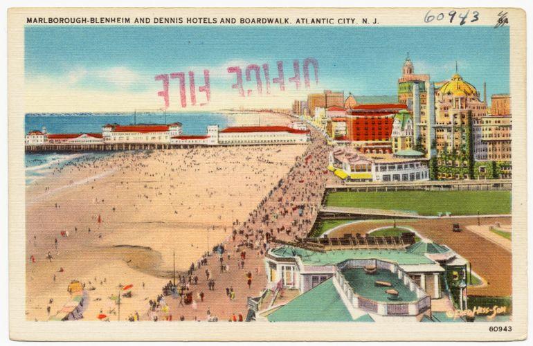Marlborough-Blenheim and Dennis Hotels and boardwalk, Atlantic City, N. J.