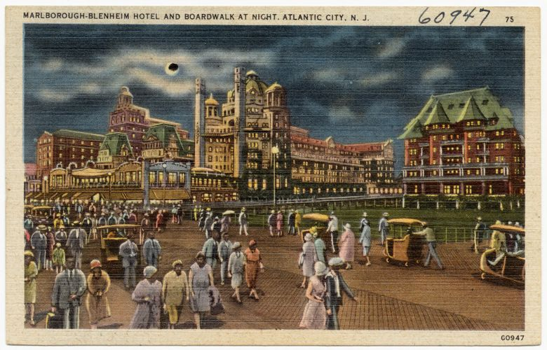 Marlborough-Blenheim Hotel and boardwalk at night, Atlantic City, N. J.