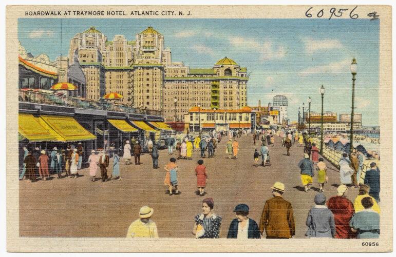 Boardwalk at Traymore Hotel, Atlantic City, N. J.