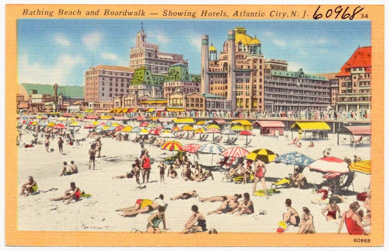 Bathing beach and boardwalk -- showing hotels, Atlantic City, N. J.