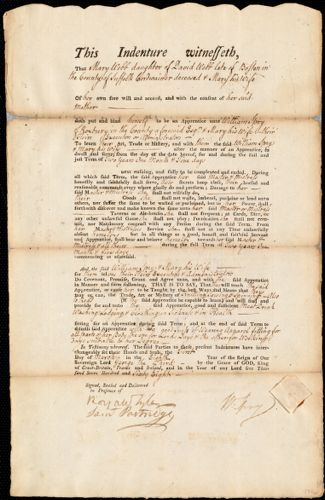 Document of indenture: Servant: Webb, Mary. Master: Spry, William. Town of Master: Roxbury