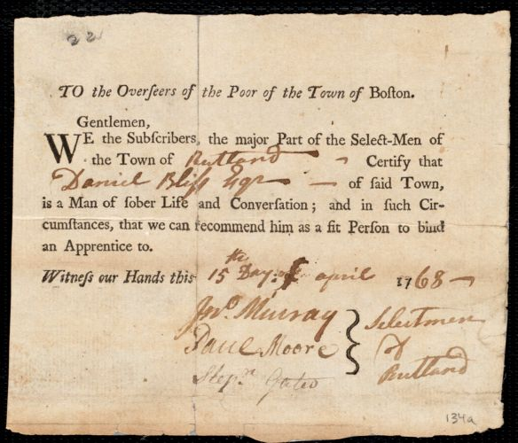 Document of indenture: Servant: Caten, Richard. Master: Bliss, Daniel. Town of Master: Rutland. Selectmen of the town of Rutland autograph document signed to the Overseers of the Poor of the town of Boston: Endorsement Certificate for Daniel Bliss.