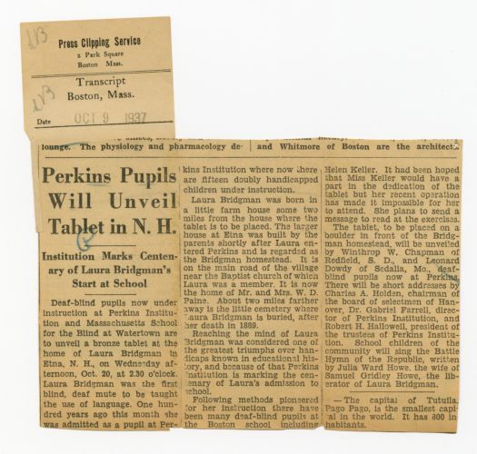 Article from Transcript, Boston, Mass., Oct. 9, 1937
