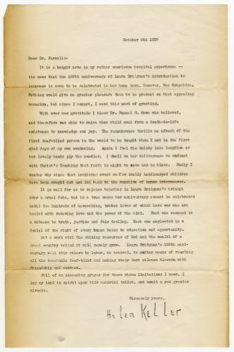 Letter from Helen Keller to Dr. Farrell, Director of Perkins School for the Blind