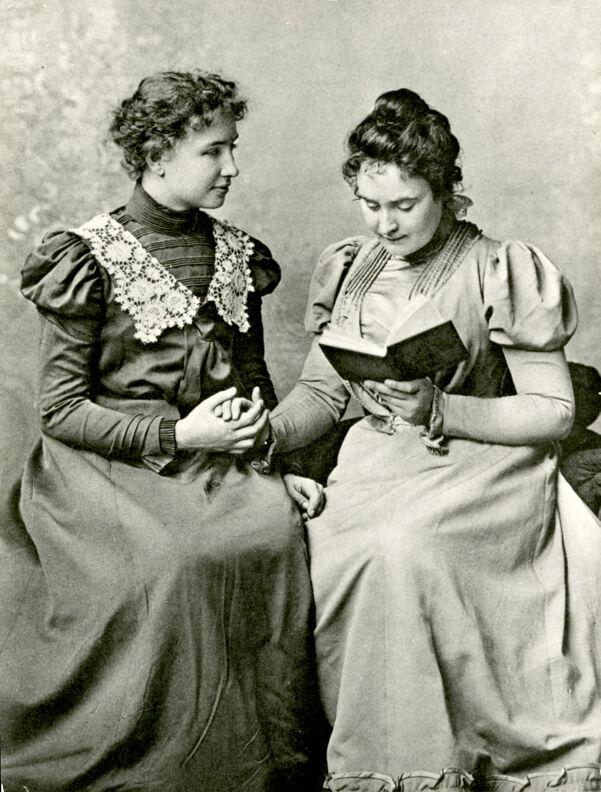 Anne Sullivan Reading to Helen Keller, Radcliffe College