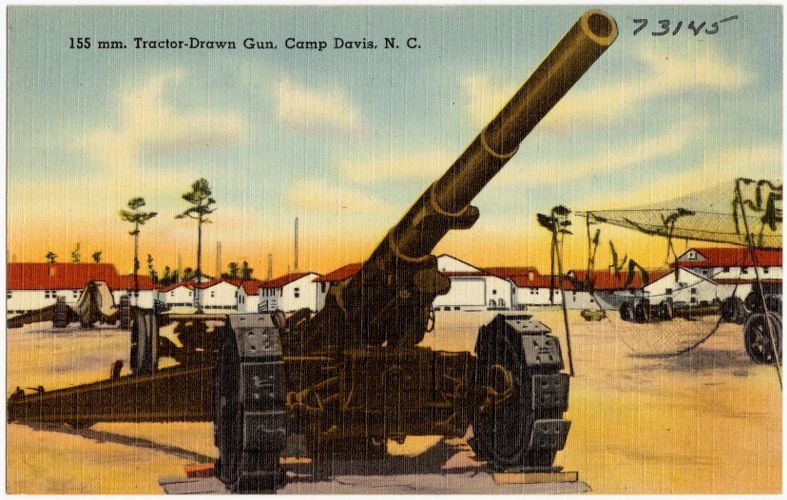 155 mm. Tractor-Drawn Gun, Camp Davis, N. C.