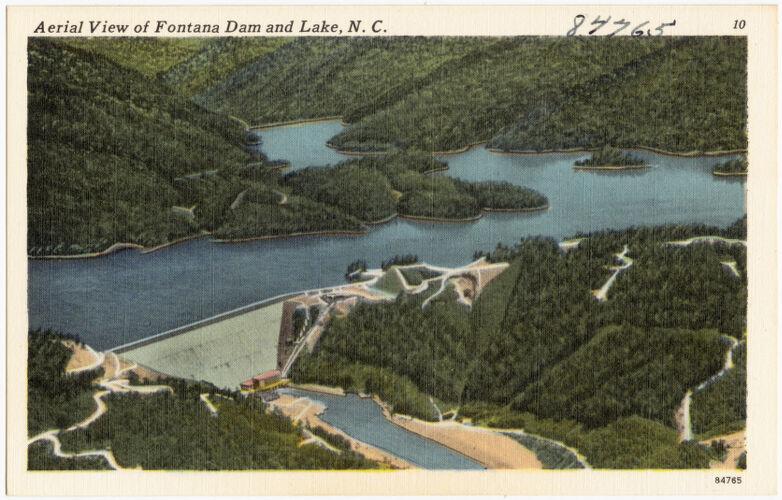 Aerial view of Fontana Dam and lake, N. C.