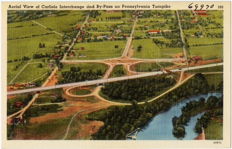Aerial view of Carlisle Interchange and by-pass on Pennsylvania Turnpike