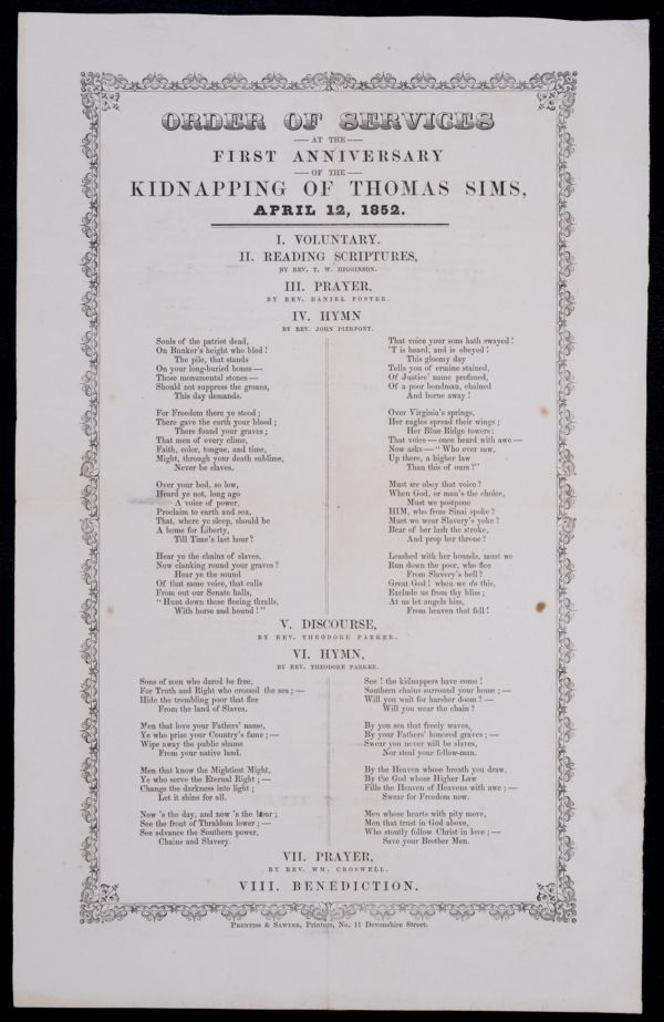 Order of services at the first anniversary of the kidnaping of Thomas Sims