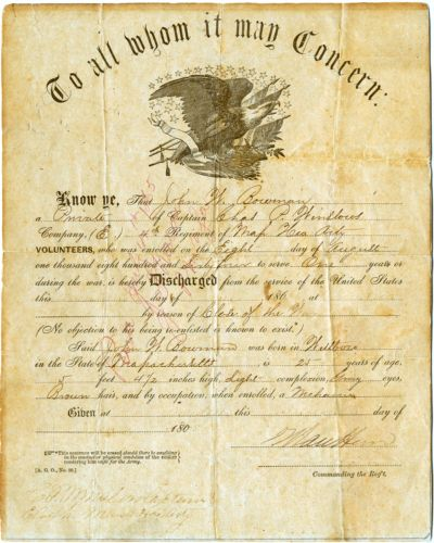 Military discharge paper for John W. Bowman