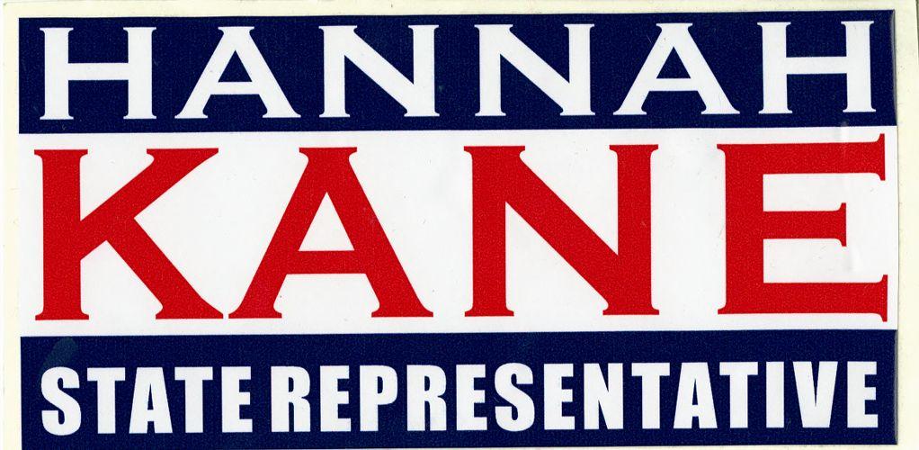 """Hannah Kane for State Representative"" bumper sticker"