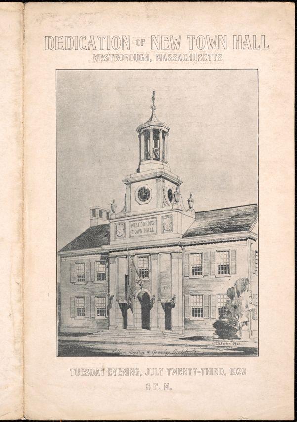 Dedication of New Town Hall Program, 1929