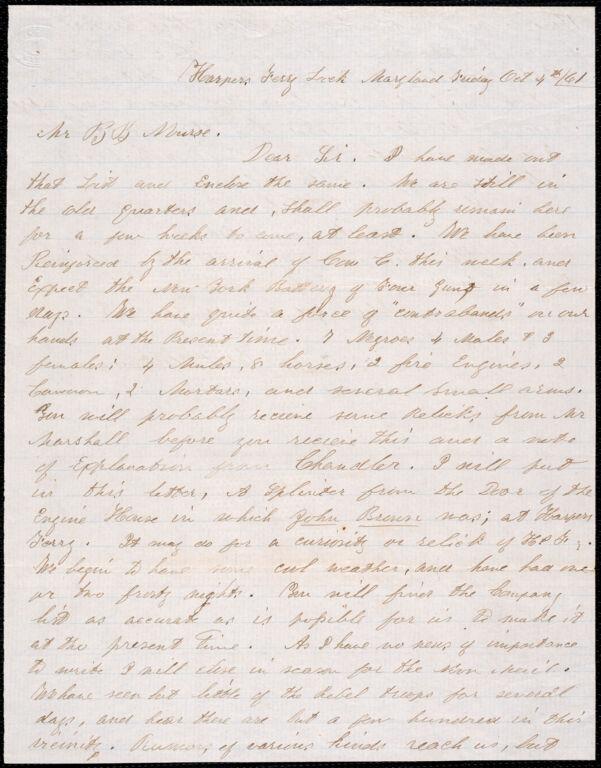 Letter from Capt. William P. Blackmer, Harper's Ferry, 10/4/1861