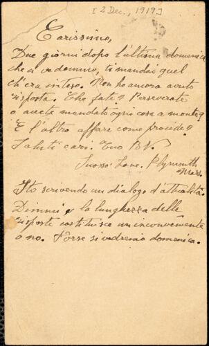 Bartolomeo Vanzetti autographed note signed (initials) to Aldino Felicani, [Plymouth], 2 December 1919