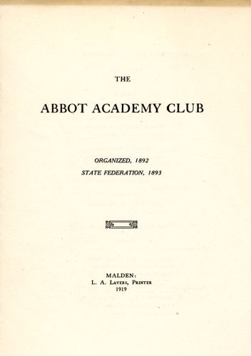 Abbot Academy Club year in review, Sarah (Sallie) M. Field, Abbot Academy, class of 1904