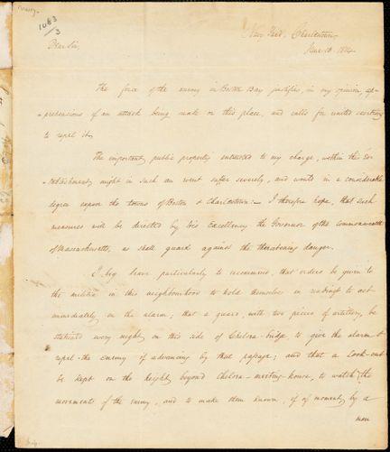 William Bainbridge to John Brooks, June 13, 1814