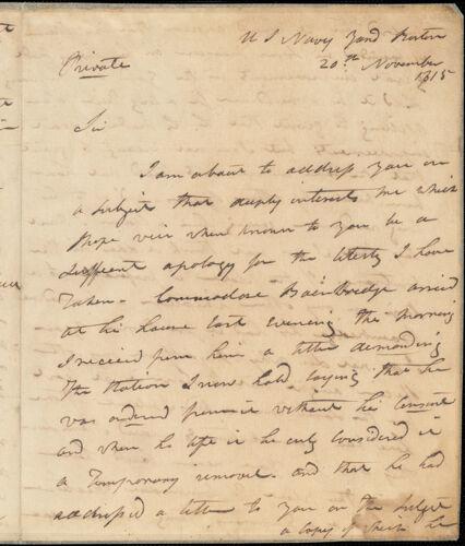 Isaac Hull to Benjamin Crowninshield, November 20, 1815