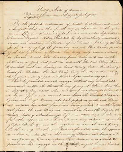 Copy of Capt. Adams's Protest - Brig Hiram, September 4, 1812