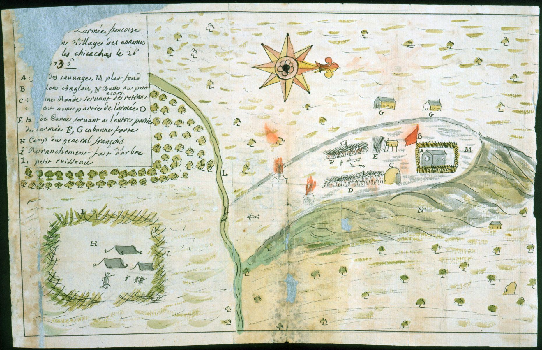 Dumont de Montigny, [Campement] de l'armée franc̦oise [devant u]n village des ennemis, les Chicachas le 26 [de mais] 1736 (1747).